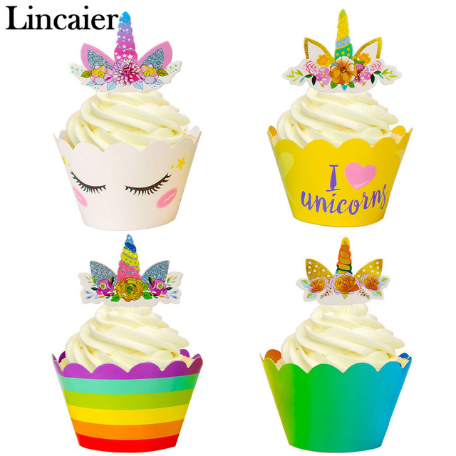 Lincaier 24Pcs Unicorn Rainbow My Little Pony Birthday Party Decoration Kids Cake Cupcake Toppers Babyshower Boy