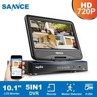"SANNCE 5in1 720P HD Sistema de Monitoramento de Vídeo Combo 1080N 8CH DVR NVR HVR Rede CCTV Sistema de Segurança com 1080N 10.1 ""LCD gravador de vídeo de vigilância     -"