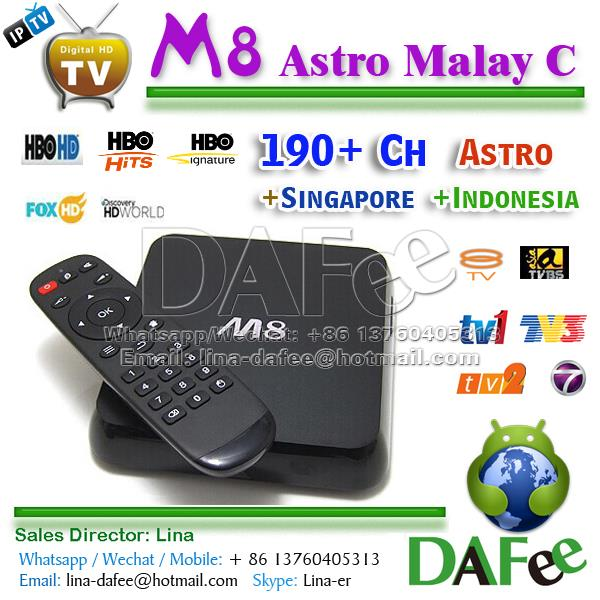 US $186 0 |Malaysia IPTV Astro Indonesia Server IPTV Live Channels Quad  Core Android 4K Box M8 2G 8G Popular 190 Channels One Year Free -in Set-top