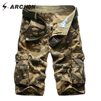S ARCHON Casual Army Tactical Camouflage Cargo Shorts Men Summer Fashion Knee Length Multi Pockets Cotton