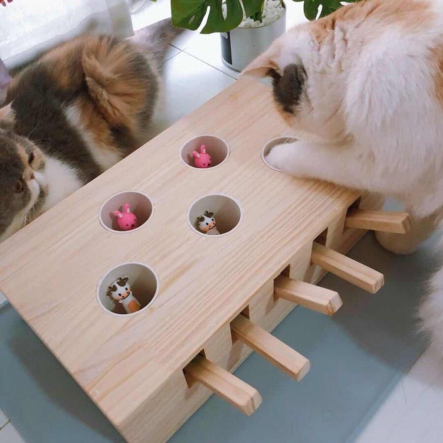 Attraper souris mignon chat jouet souris bois interactif drôle chiot animaux jouets Petshop Juguetes Perros Pet fournitures chats jeux 50DC0028