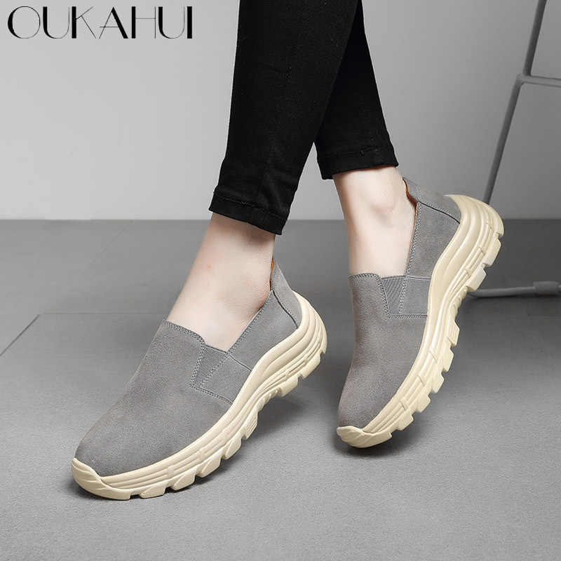 fc61a198982c OUKAHUI Spring Genuine Leather Women Flats Sneakers Shoes Loafers Thick  Bottom Cow Suede Leather Fashion Casual