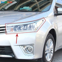 For Toyota corolla E170 2014 2015 ABS Chrome Front Headlight Head Light Lamp Cover Trim 2pcs Exterior Accessories