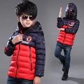 Crianças jaqueta de inverno Menino óculos à prova de vento com capuz Do Homem Aranha dos desenhos animados crianças outerwear casaco de algodão acolchoado casaco de inverno quente