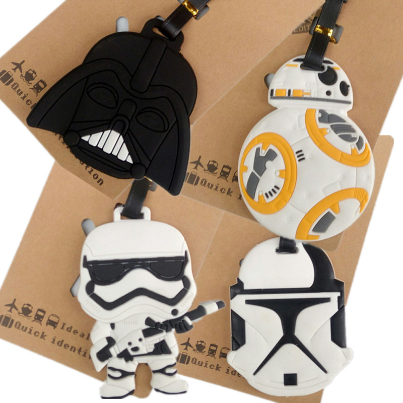 2018 New Cartoon Star Wars Luggage Tags Black Knight Silicon Name ID Travel Suitcase Handbag Tag Accessories Portable Label Gift