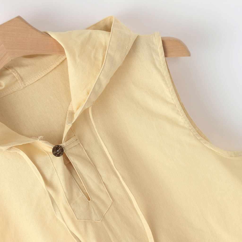 Mannen Baggy Katoen Linnen Solid Button hooded Strand Mouwloze Hooded Shirt Leisure Tank Tops Holiday Party Shirts voor Mannelijke