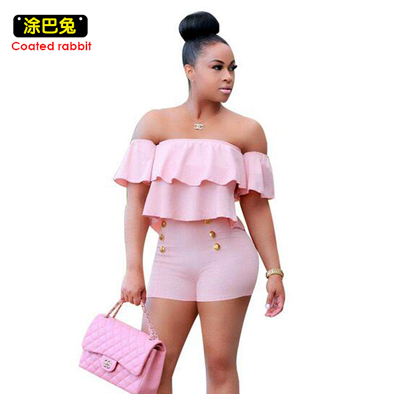 S-3XL Summer Women Jumpsuits Ruffles Slash Neck Beach Playsuits Solid colors Girls Sexy Casual Playsuit Overalls