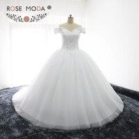Rose Moda Sang Trọng Tắt Shoulder V Neck Ren Công Chúa Wedding Dress với Puffy Váy Ngắn Tay Áo Ren Top Bóng Đám Cưới Gown