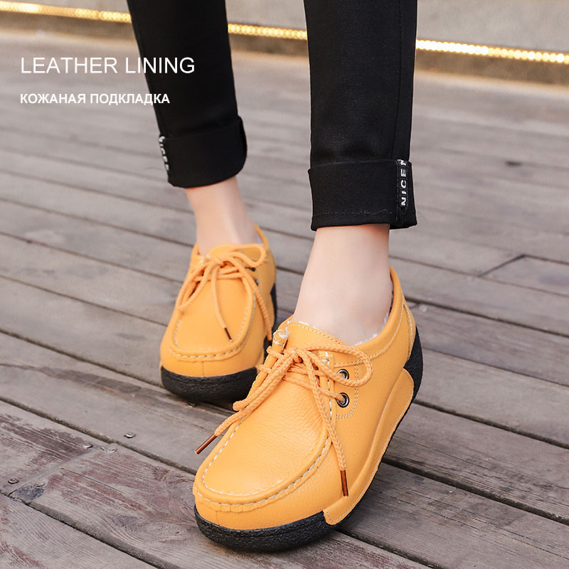 Dropwow O16U 2018 Women Flat Platform Shoes Genuine Leather Lace up ... 026420fb89d