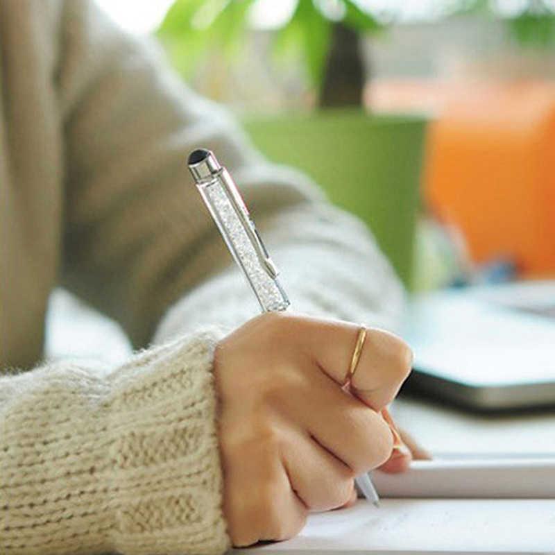 5 adet/grup Elmas Kristal Tükenmez Kalem + kapasitif stylus kalem Kalem 2 in 1 Yenilik Metal Zakka Dokunmatik Ballpen Kırtasiye Hediyeler
