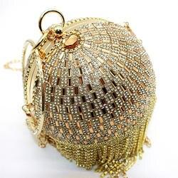 Круговая женская сумка золотой день клатч вечерние сумки вечерние клатчи женские сумки металлический цветок сверкающие Minaudiere сумки на