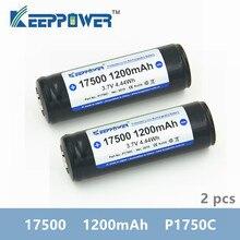 2 قطعة Keeppower 17500 1200mAh 3.7 فولت P1750C 4.44Wh المحمية بطارية ليثيوم قابلة للشحن بطاريات ليثيوم أيون ل vape مصباح يدوي