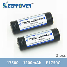 2 pcs Keeppower 17500 1200mAh 3.7V P1750C 4.44Wh Protected Rechargeable Lithium Battery Li ion Batteries for vape flashlight