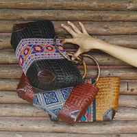 Thai version of the handmade straw bag beach package national wind cotton and linen clothing package rattan round handle bag