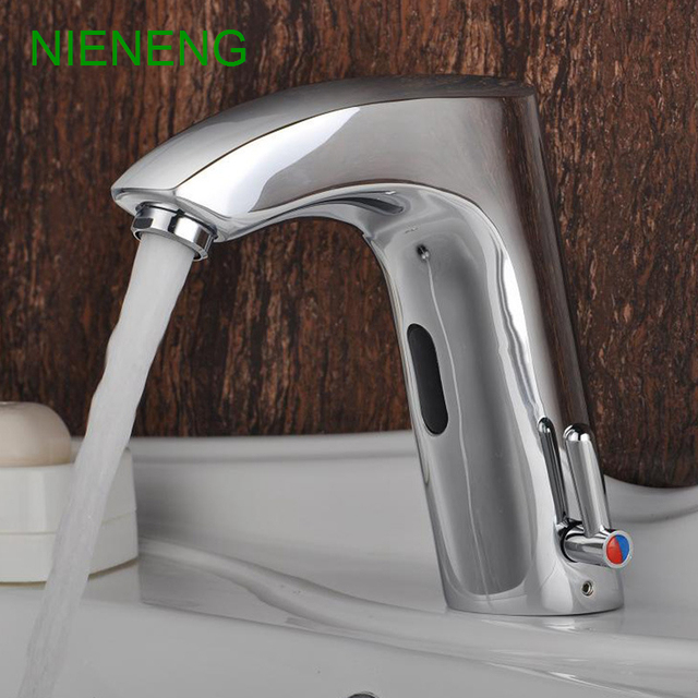 NIENENG Sensor Faucet Bathroom Sink Mixer Hot Cold Water Automatic Hospital  Appliance Taps Basin Faucets Medical