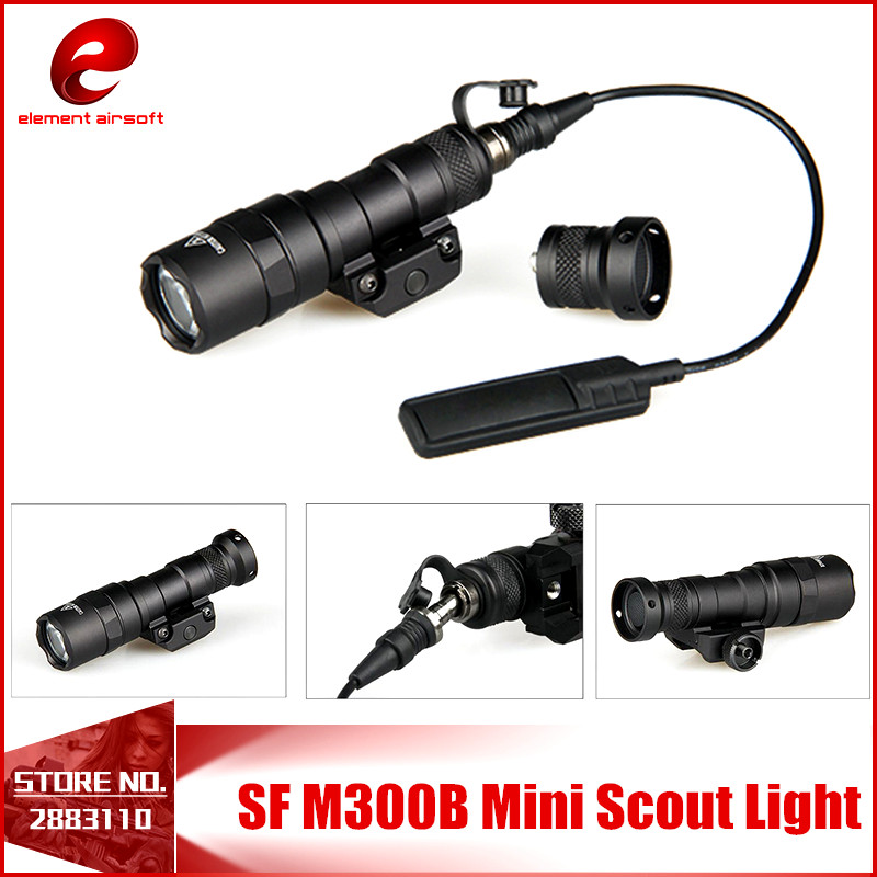 Element SF M300B Scout Tactical Weapon Flashlight Aluminum New Version 250LM Output LED EX358 tactical flashlight with tail switch m300b mini scout light new version light black de