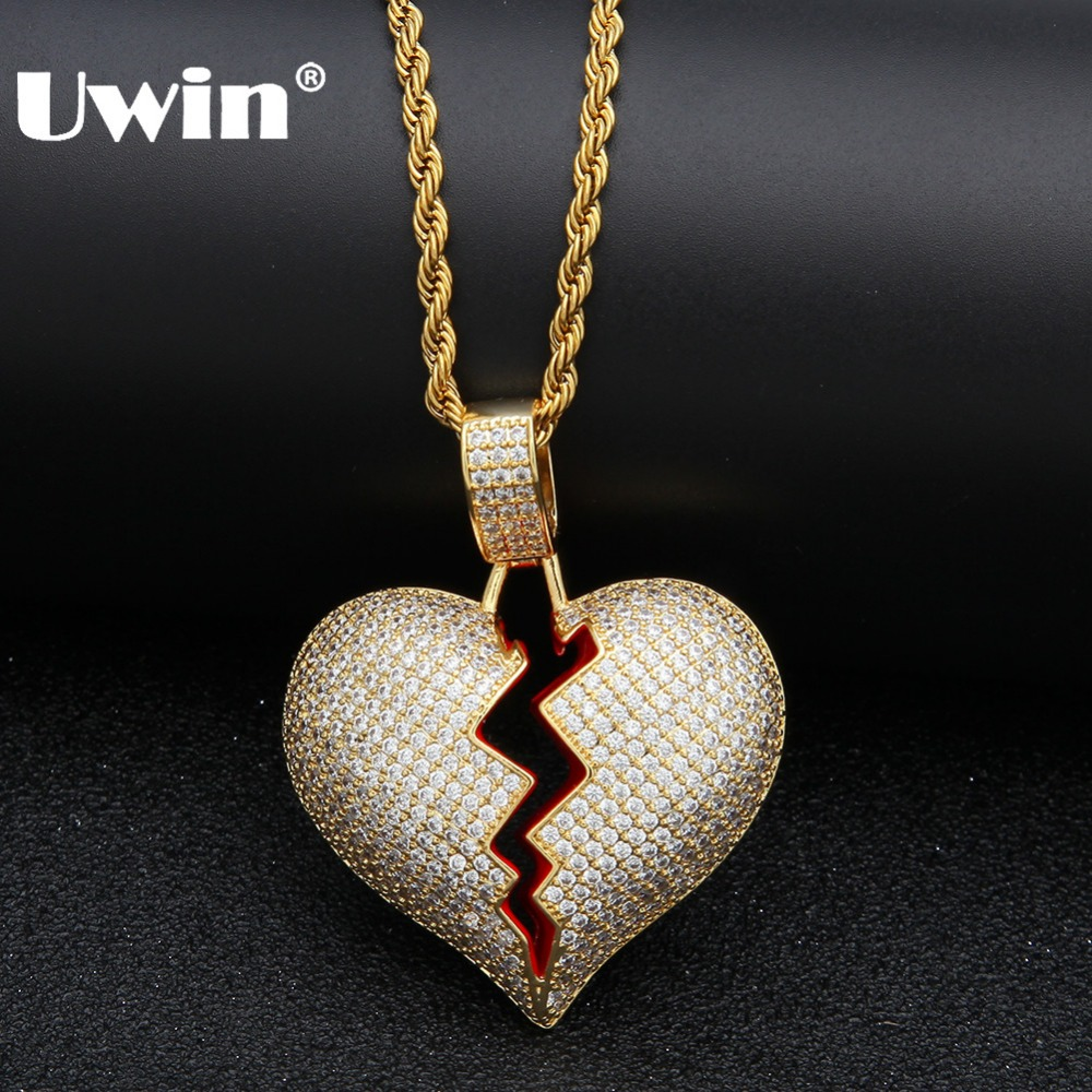 Uwin Iced Out Broken Heart Necklace Pendant Cubic Zirconia Gold Silver Color With Rope Chain Hiphop Jewelry Gifts For Men Women cruel heart broken