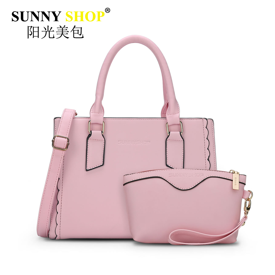 SUNNY SHOP national women Composite Bag handbag high quality pu leather shoulder messenger bags fashion solid tote pink sac mb35 high quality tote bag composite bag 2