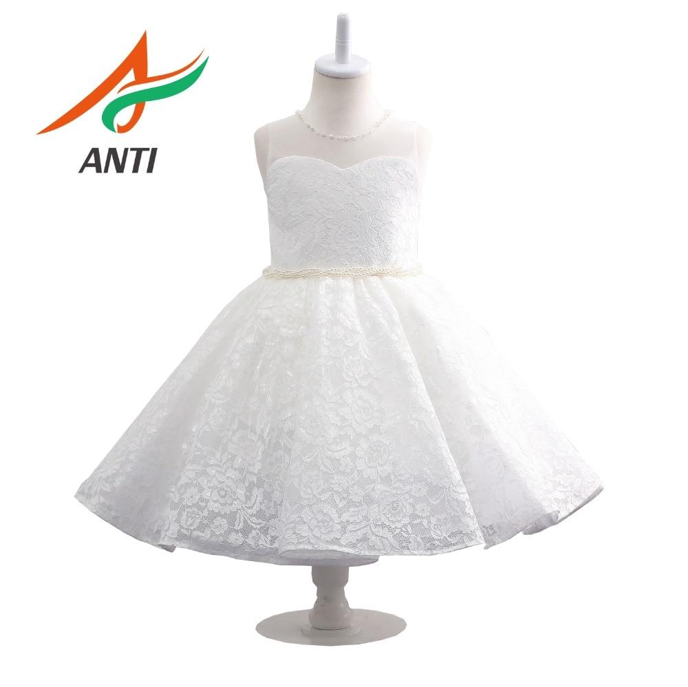 ANTI Vintage Pearls O-Neck White   Flower     Girl     Dress   2019 Simple Tulle Sleeveless Child First Communion   Dress   Party   Dress   vestidos