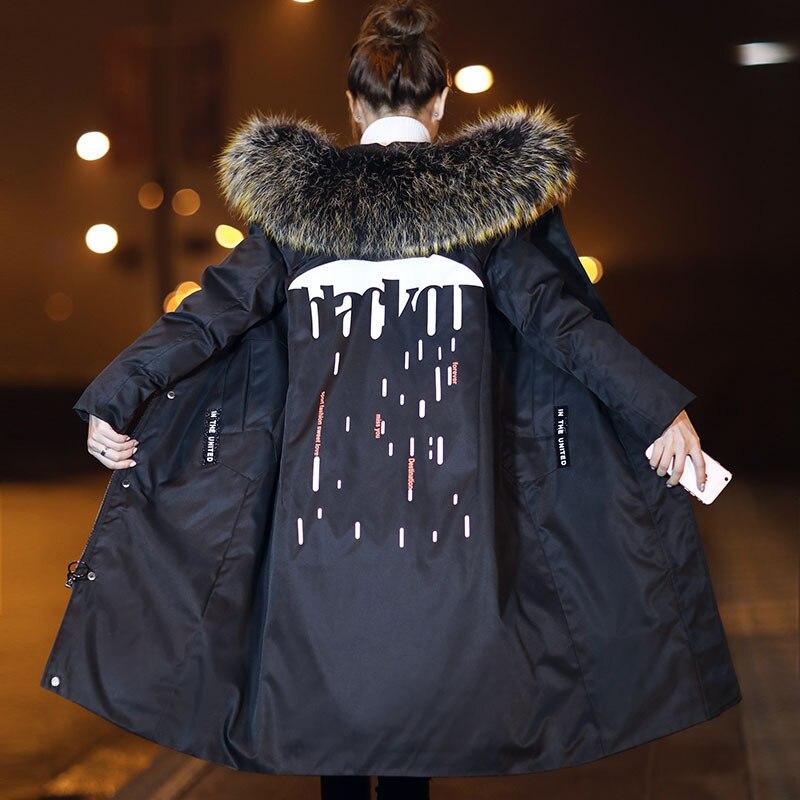 Large raccoon dog fur collar hooded fashion winter down jackets women down coats outerwear 2018 autumn winter
