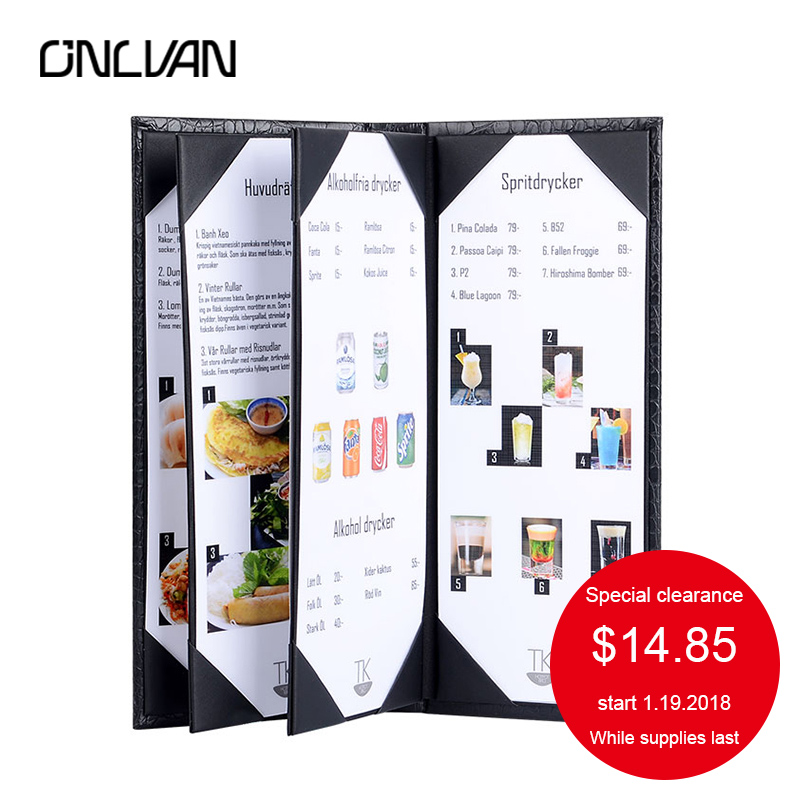 ONLVAN Classic Alligator Grain Leather Cocktail High Quality Menu Folders Upscale Restaurant Cafe Bar Customized Menu Folder a4 leather discolor manager file folder restaurant menu cover custom portfolio folders office portable pu document report cover