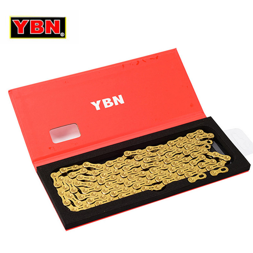 YBN Ultralight 9 10 11 Speeds Bicycle Chain SLR Gold Hollow MTB Road Bike Chain for Shimano/SRAM/Campanolo System-in Bicycle Chain from Sports & Entertainment