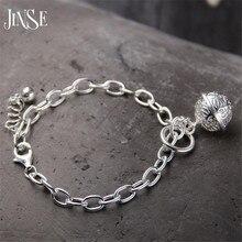 JINSE Wholesale 925 Fine bracelet Fashion Jewelry Bell Charms Bracelet For Women 18*1.40cm 3cm Extend Chain