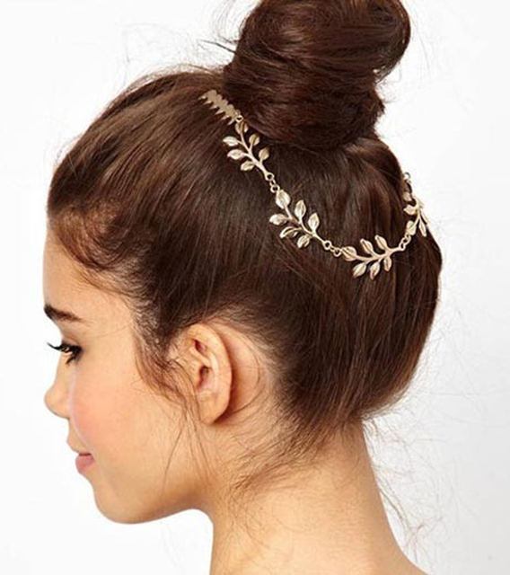 Womens Personality Golden Tone Leaf Hair Cuff Chain Comb Headband Hair Band  Hair Accessory 5ac46825551