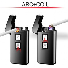 New 2 In 1 Coil Arc Lighter Smart Electronic USB Lighters Dual-purpose Touch Induction Ignition Metal Cigarette mecheros