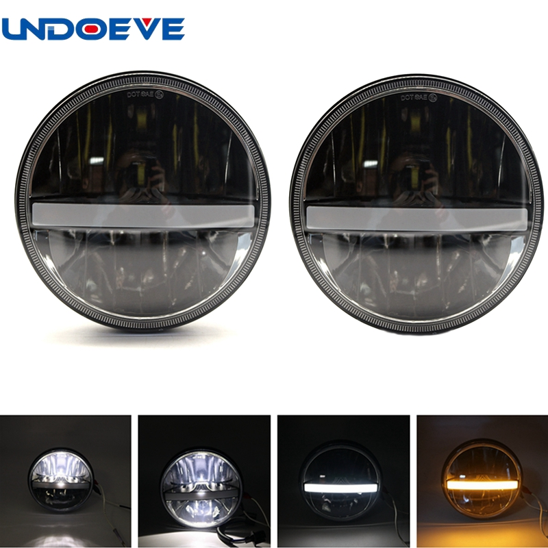 7inch round for Jeep Headlight Led headlamp for Jeep wrangler LED headlight with DRL turning signal function black chrome 2pcs 7inch round 105w led headlight drl turn signal for jeep wrangler hummer 4x4 4wd suv driving headlamp
