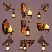 Wood wall lamp Restaurant Bar Coffee Shop wall lamp retro light industrial home interior loft wall decor led bedside sconce lamp retro personality single double head wall lamp tea bar restaurant club network coffee shop decorative wall lamp 110 240v