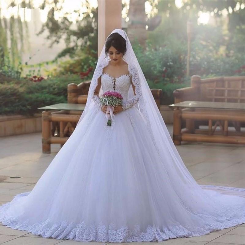 Где купить Vestidos de novia бальное платье Дубай с длинным рукавом свадебное платье es 2019 с кружевной аппликацией свадебное платье Плюс Размер свадебное платье
