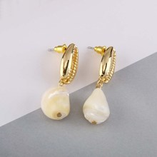 Fashion 2018 New Europe Simple Design Gold Sea Shell Conch Shape Earrings Geometric Beach Cute Earring
