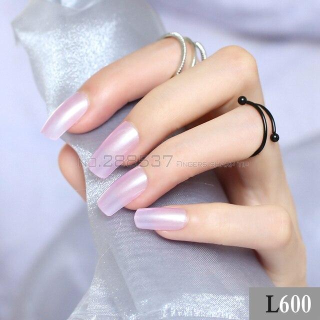 DIY Transparent purple long sectionsquare head false nails 24pcs New ...