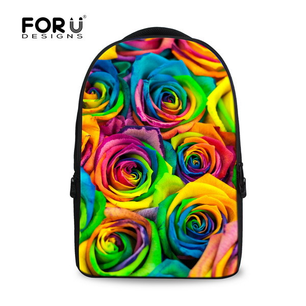 ФОТО Hot 2017 Floral Printed Canvas Kids Backpack Rose 3D Teenager Girls School Bagpack Gift Flower Women Rucksack Free Shipping