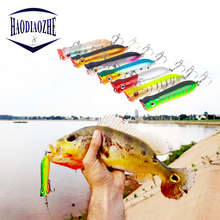 Купить с кэшбэком HAODIAOZHE Popper Wobbler Fishing Lure With 6# Hooks 8cm 12g Floating Crankbait Artificial Bait Hot Poper Pesca Carp Pike YU5