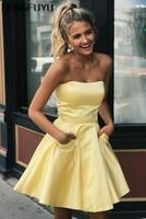 Yellow Satin Strapless A Line Short Cocktail Dresses 2019 Sleeveless Pockets Zipper Mini Length Cocktail Dress HFY30805