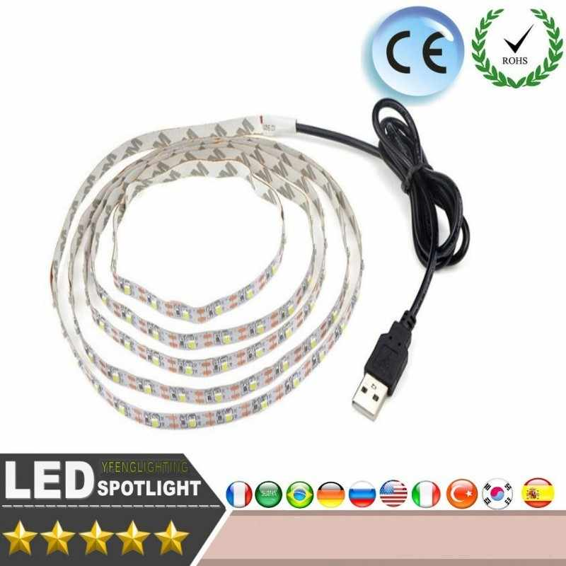 USB Powered 5V RGB LED Strip light 60leds/m 3528 SMD Non-Waterproof Tape For TV Background Lighting With Remote Controller