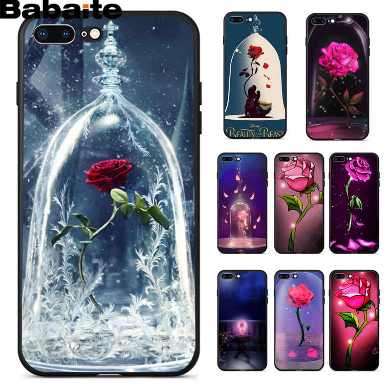 Babaite ความงามและ beast Rose ที่กำหนดเองภาพสีดำโทรศัพท์กรณีเปลือกนุ่มสำหรับ iPhone 8 7 6 6S plus 5 5S SE XR X XS MAX
