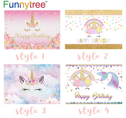 Funnytree Photocall Unicorn Backdrop Cute Pink Gold Colorful Small Size Baby Child Birthday Party Photography Photo Background