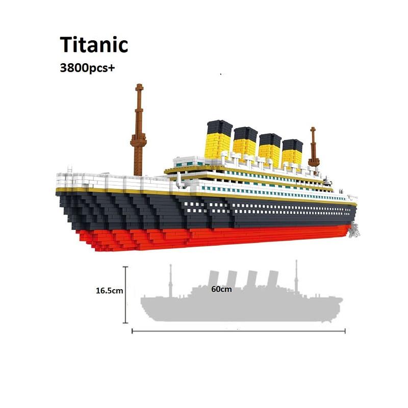 3800 Pcs Mini Blocks Titanic Building Bricks Model Big Size 60cm Figures Educational Toys Boat Juguetes Girls Gifts For Kids