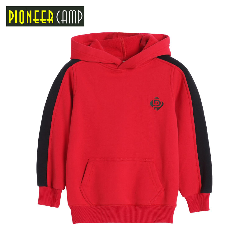 Pioneer Camp Kids 2017 Plus Velvet Sweatshirts Hoodies Thick Cotton Fashion 4-14T Boys Warm Winter Coat Street SweaterS