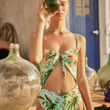 Green Floral Halter One-Piece Swimsuit Women Scalloped Monokini Swimwear 2019 Girl Boho Beach Knot Front Cutout Bathing Suits knot front two piece swimwear