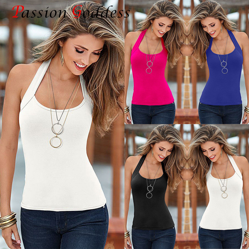 Women 2016 Summer Plus Size xxl xxxl Tank Tops O neck Sleeveless Halter Backless Sexy Solid Tanks top Women Beach Top Vest Camis