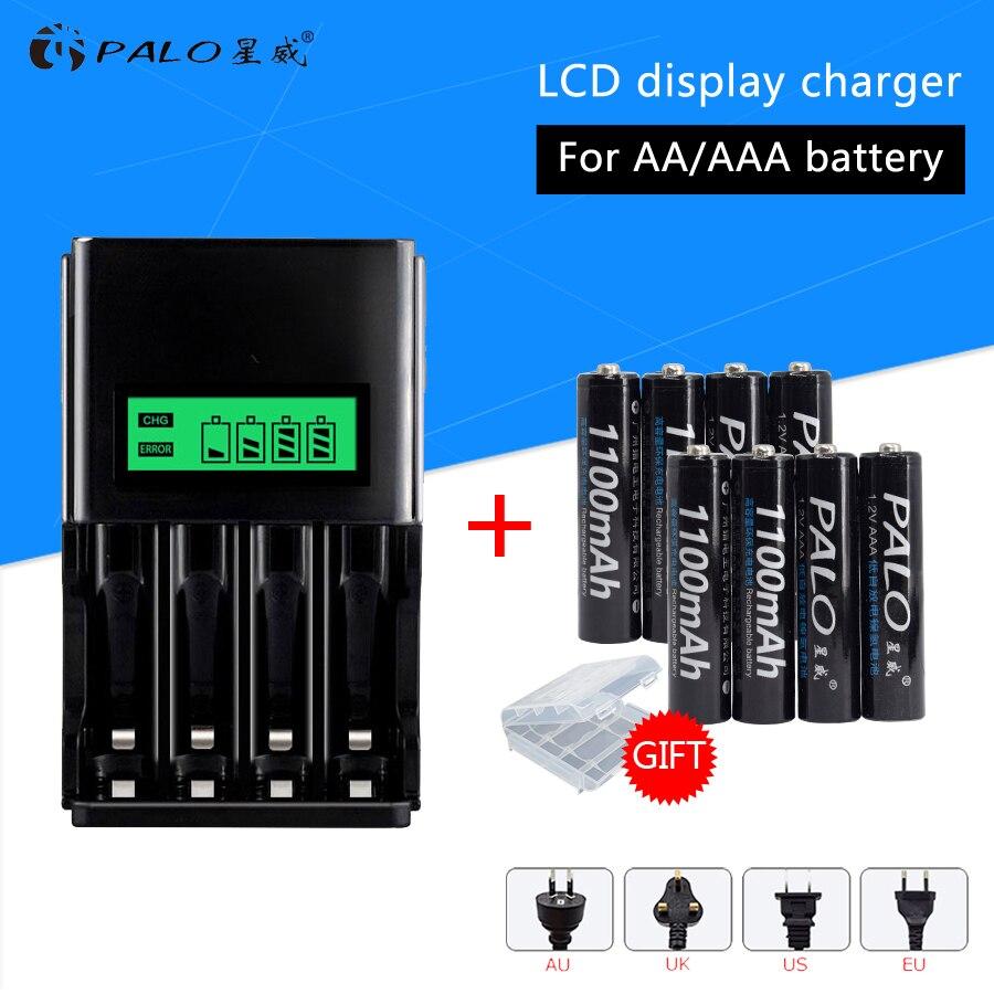 PALO Intelligente LCD Dispaly Batteria Caricabatterie Per 1.2 v NI-MH NI-CD AA AAA Reachargeable Batteria con 8 pz batterie AAA per il giocattolo auto