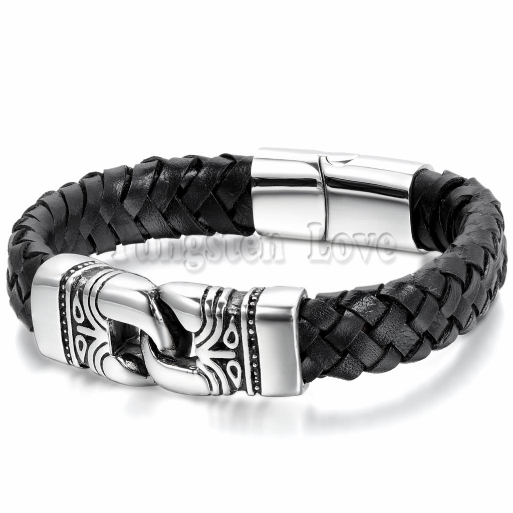 Punk Rock Totem Design Braided Leather Men Bracelets Fashion Stainless  Steel Magnet Buckle Cool Men Jewelry