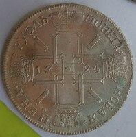 Nice 1724 Russian Empire Ruble Pyotr I In 90 Silver Exact Copy