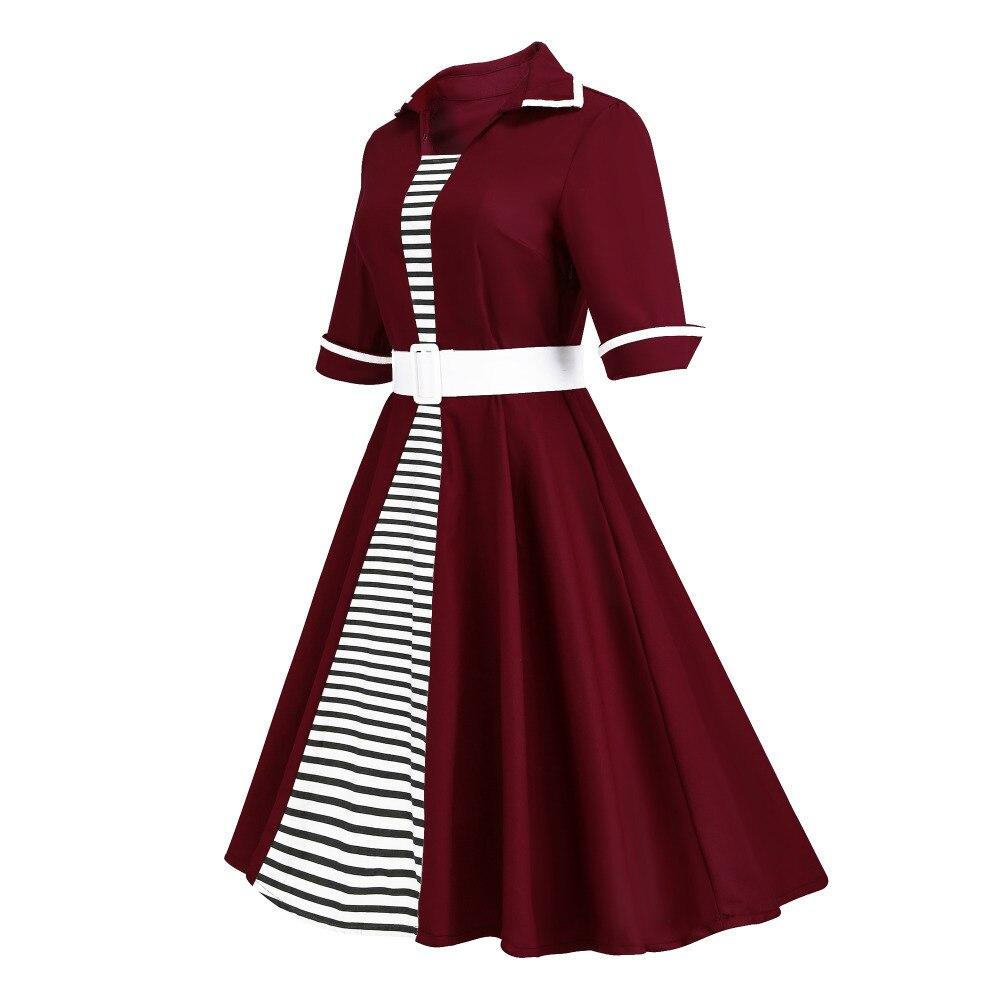 ... Autumn 4XL Plus Size 3XL Stripe Print Half Sleeves Lapel Vintage Dress  50 s Audrey Retro Dresses ... f3bde8c7739e
