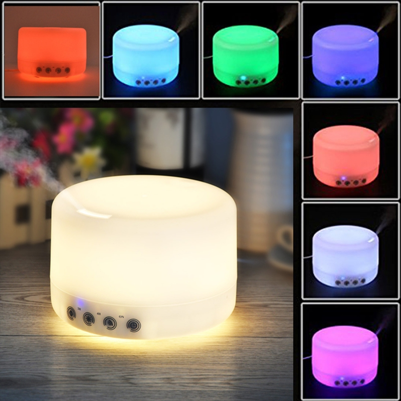ФОТО 500/1000ml Touch Botton Air Purifier LED Color Change Ultrasonic Aromatherapy Essential Oil Diffuser Air Humidifier Moistener