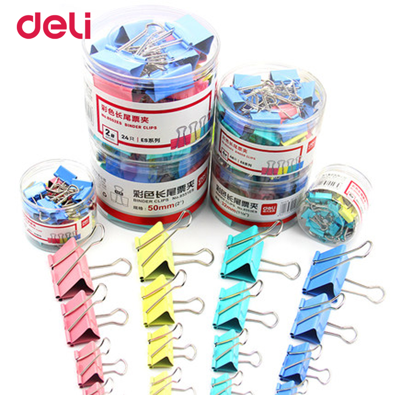 Deli wholesale 6 size 4 color metal binder clip for paper quanlity clips for office file organizer school stationery supplies